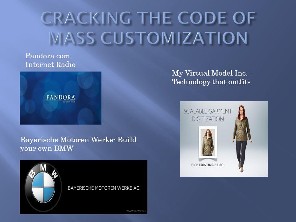 Pandora.com Internet Radio Bayerische Motoren Werke- Build your own BMW My Virtual Model Inc. – Technology that outfits