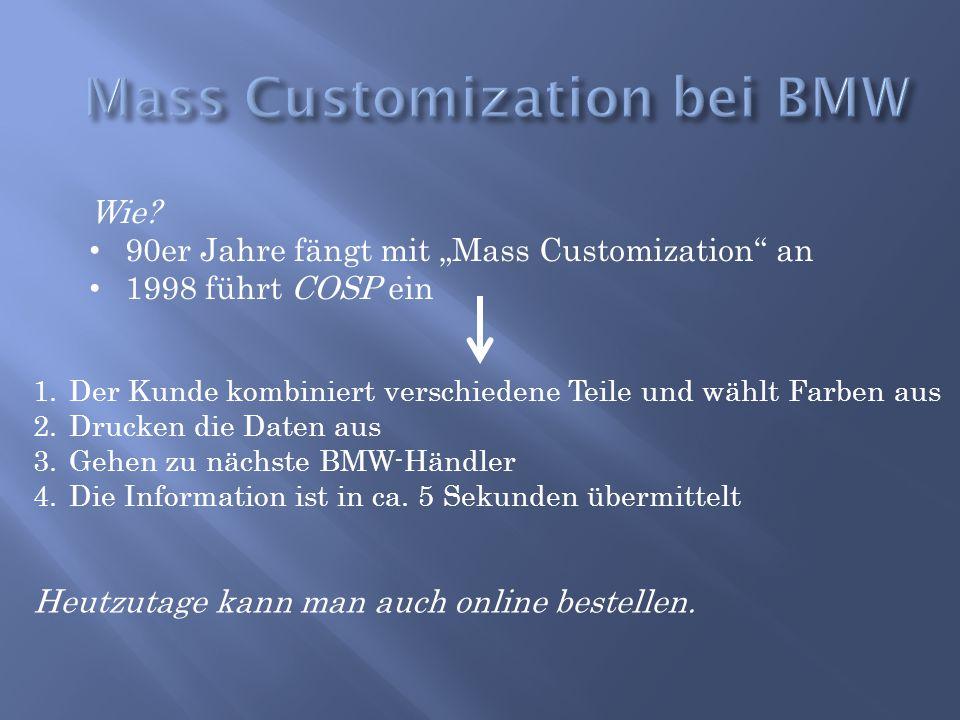 """Wie? 90er Jahre fängt mit """"Mass Customization"""" an 1998 führt COSP ein 1.Der Kunde kombiniert verschiedene Teile und wählt Farben aus 2.Drucken die Dat"""