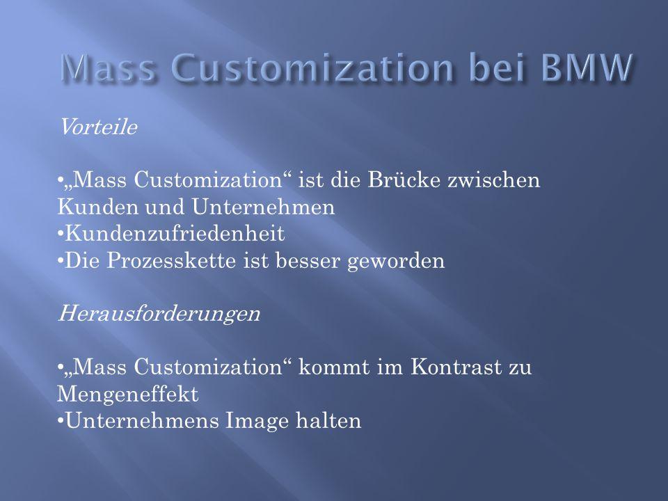 """Vorteile """"Mass Customization"""" ist die Brücke zwischen Kunden und Unternehmen Kundenzufriedenheit Die Prozesskette ist besser geworden Herausforderunge"""