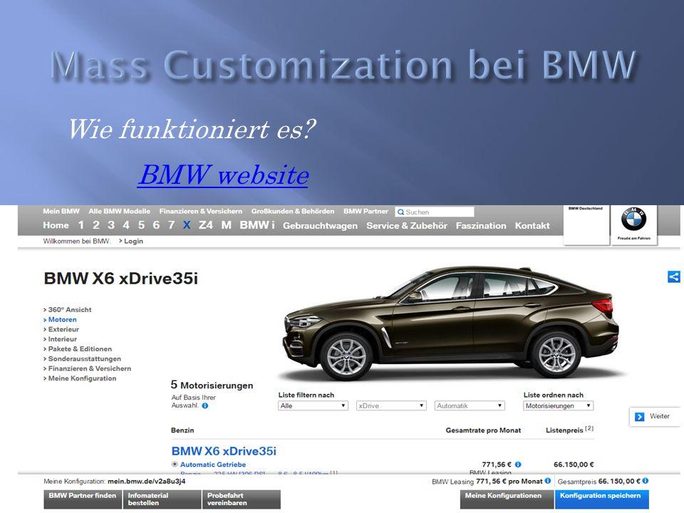 Wie funktioniert es? BMW website