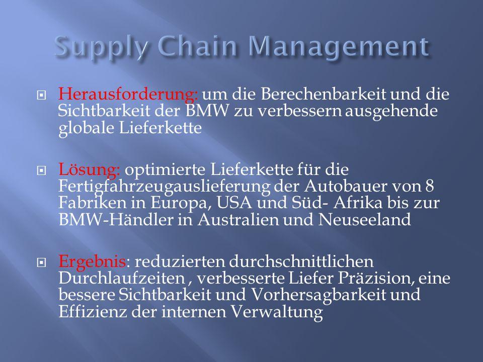  Herausforderung: um die Berechenbarkeit und die Sichtbarkeit der BMW zu verbessern ausgehende globale Lieferkette  Lösung: optimierte Lieferkette f