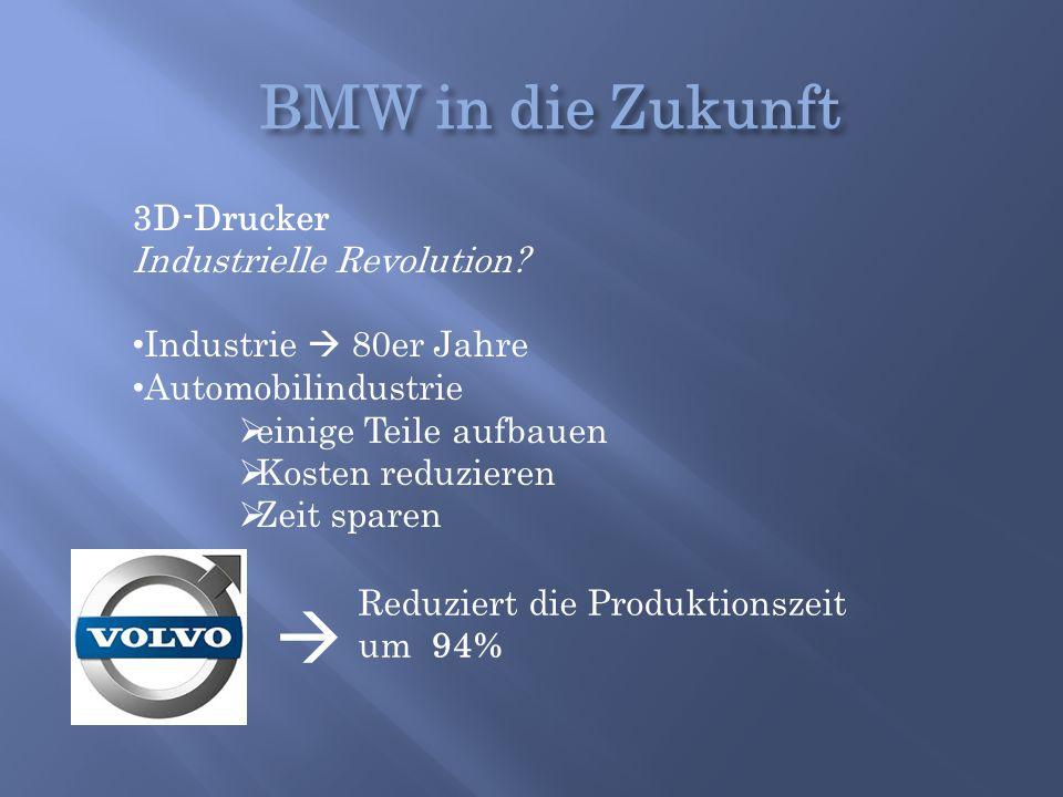 3D-Drucker Industrielle Revolution? Industrie  80er Jahre Automobilindustrie  einige Teile aufbauen  Kosten reduzieren  Zeit sparen  Reduziert di