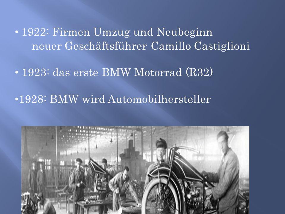 1922: Firmen Umzug und Neubeginn neuer Geschäftsführer Camillo Castiglioni 1923: das erste BMW Motorrad (R32) 1928: BMW wird Automobilhersteller