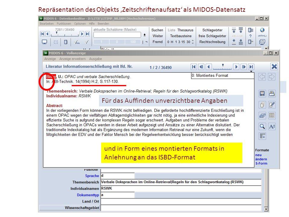 Repräsentation des Objekts 'Zeitschriftenaufsatz' als MIDOS-Datensatz In Form eines Kategorienschemas Sachtitel des Objekts Sachtitel des Containers u