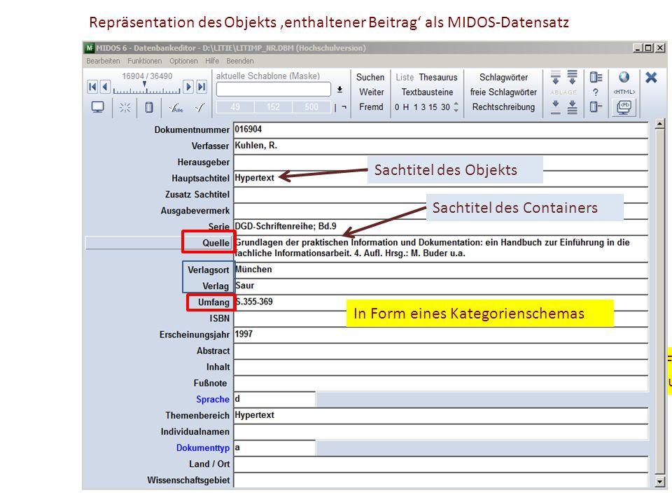 Repräsentation des Objekts 'enthaltener Beitrag' als MIDOS-Datensatz und in Form eines montierten Formats in Anlehnung an das ISBD-Format In Form eine