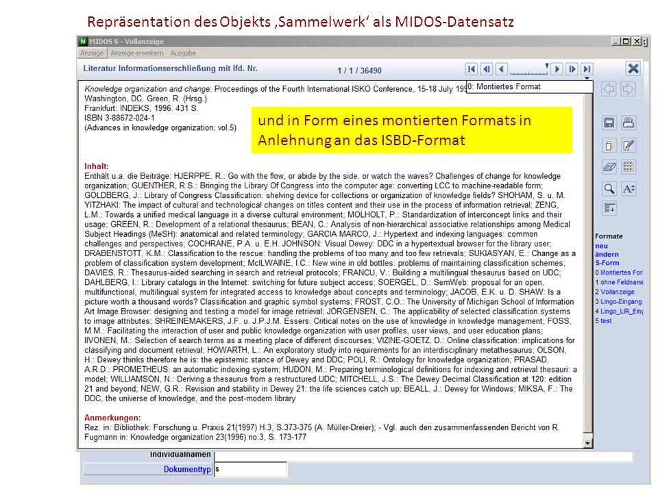 Repräsentation des Objekts 'Sammelwerk' als MIDOS-Datensatz Sachtitel des Objekts In Form eines Kategorienschemas Enthaltene Beiträge Angabe der Serie