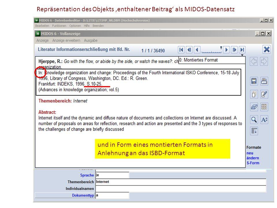 Repräsentation des Objekts 'enthaltener Beitrag' als MIDOS-Datensatz In Form eines Kategorienschemas Sachtitel des Objekts Sachtitel des Containers An