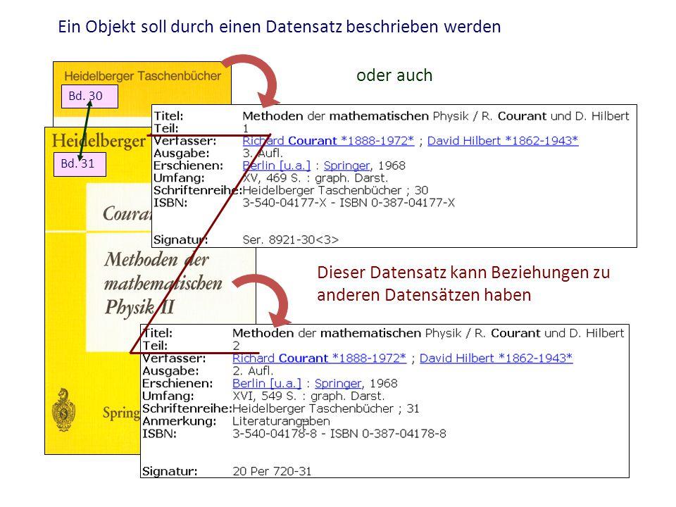 Ein Objekt soll durch einen Datensatz beschrieben werden Bd. 30 Bd. 31 Dieser Datensatz kann Beziehungen zu anderen Datensätzen haben oder auch
