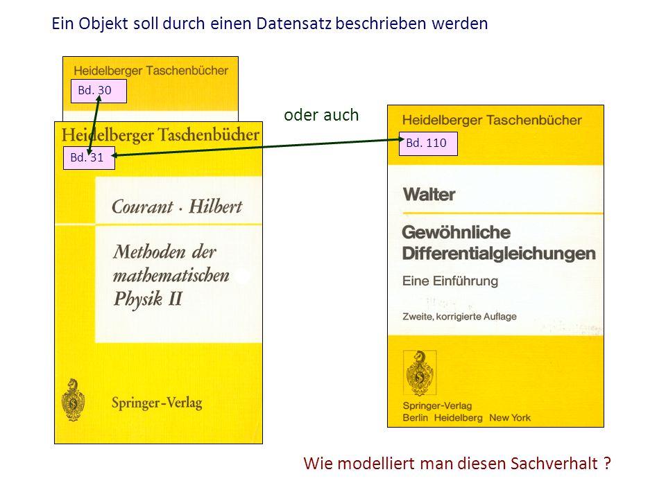 Ein Objekt soll durch einen Datensatz beschrieben werden Bd. 30 Bd. 31 Bd. 110 oder auch Wie modelliert man diesen Sachverhalt ?