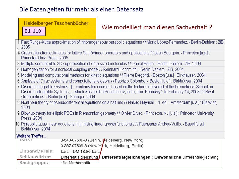 Die Daten gelten für mehr als einen Datensatz Bd. 110 Wie modelliert man diesen Sachverhalt ?