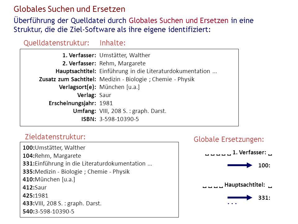 100:Umstätter, Walther 104:Rehm, Margarete 331:Einführung in die Literaturdokumentation... 335:Medizin - Biologie ; Chemie - Physik 410:München [u.a.]