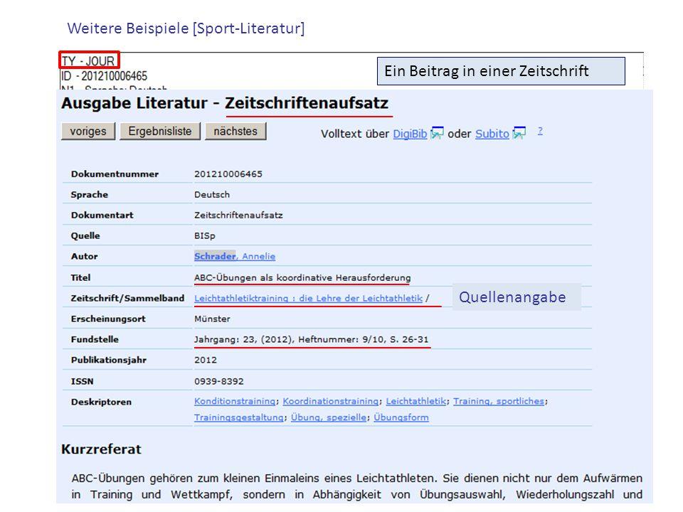 Weitere Beispiele [Sport-Literatur] Ein Beitrag in einer Zeitschrift Quellenangabe