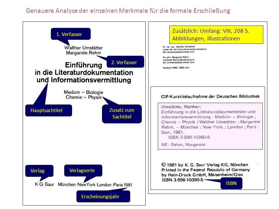 Genauere Analyse der einzelnen Merkmale für die formale Erschließung Verlag Verlagsorte Erscheinungsjahr 1. Verfasser 2. Verfasser HauptsachtitelZusat