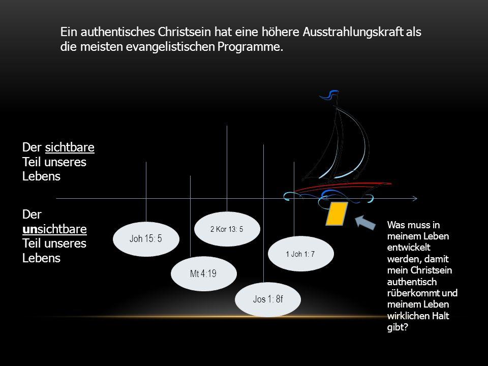 Joh 15: 5 Ein authentisches Christsein hat eine höhere Ausstrahlungskraft als die meisten evangelistischen Programme. Der sichtbare Teil unseres Leben