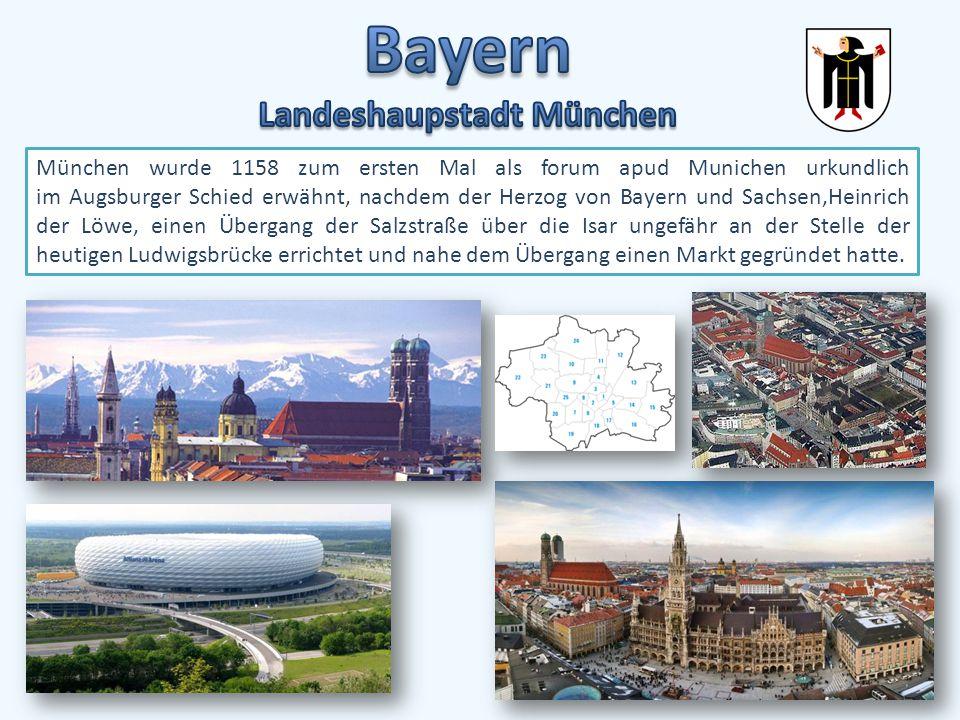 Bayern liegt in Süddeutschland und umfasst: die Bayerischen Alpen im Süden, das Alpenvorland, das ostbayerische Mittelgebire und die Stufenlandschaft der Schwäbischen und Fränkischen Alb.