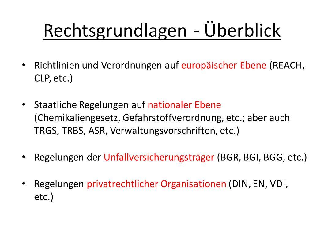 Rechtsgrundlagen - Überblick Richtlinien und Verordnungen auf europäischer Ebene (REACH, CLP, etc.) Staatliche Regelungen auf nationaler Ebene (Chemikaliengesetz, Gefahrstoffverordnung, etc.; aber auch TRGS, TRBS, ASR, Verwaltungsvorschriften, etc.) Regelungen der Unfallversicherungsträger (BGR, BGI, BGG, etc.) Regelungen privatrechtlicher Organisationen (DIN, EN, VDI, etc.)