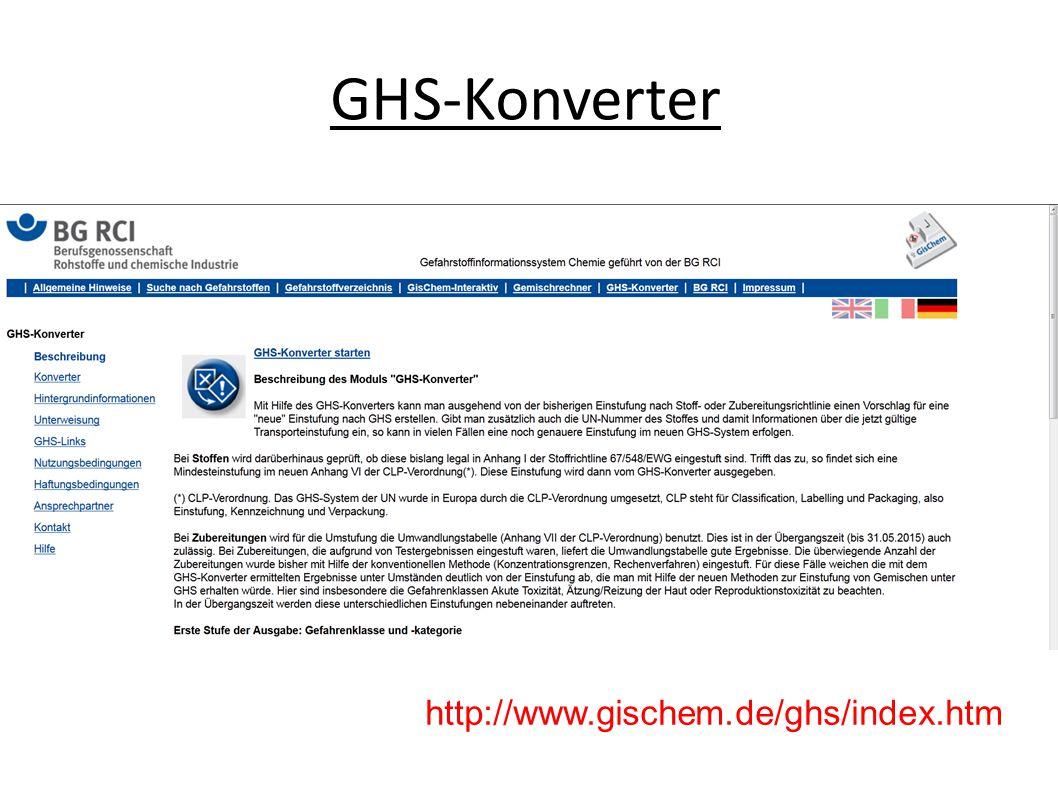 GHS-Konverter http://www.gischem.de/ghs/index.htm