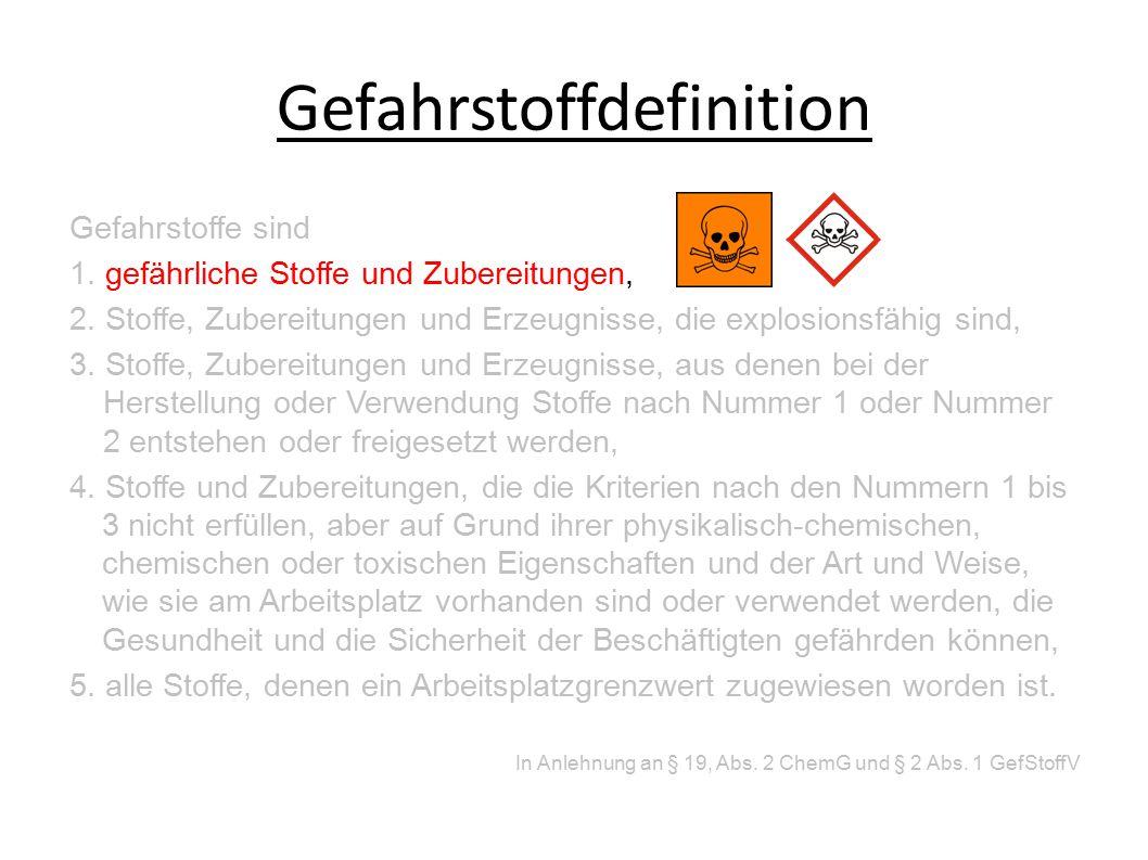 Gefahrstoffdefinition Gefahrstoffe sind 1.gefährliche Stoffe und Zubereitungen, 2.