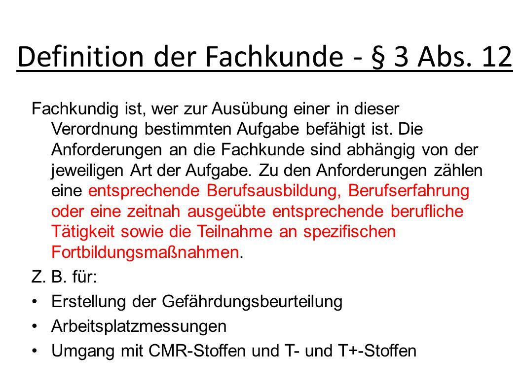 Definition der Fachkunde - § 3 Abs.
