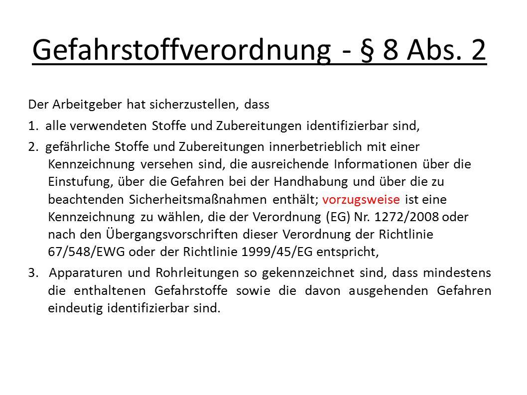 Gefahrstoffverordnung - § 8 Abs. 2 Der Arbeitgeber hat sicherzustellen, dass 1. alle verwendeten Stoffe und Zubereitungen identifizierbar sind, 2. gef