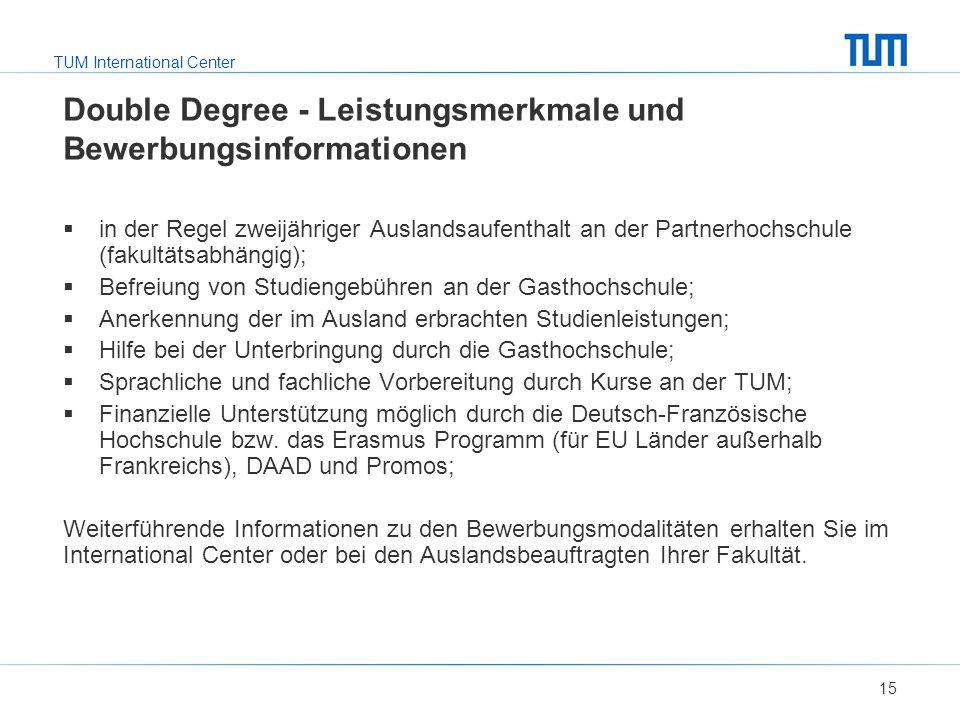 TUM International Center Double Degree - Leistungsmerkmale und Bewerbungsinformationen  in der Regel zweijähriger Auslandsaufenthalt an der Partnerho