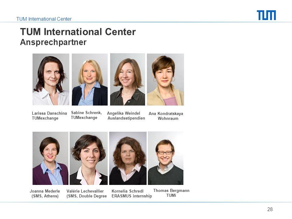 TUM International Center TUM International Center Ansprechpartner 28 Larissa Danschina TUMexchange Angelika Weindel Auslandsstipendien Valérie Lecheva
