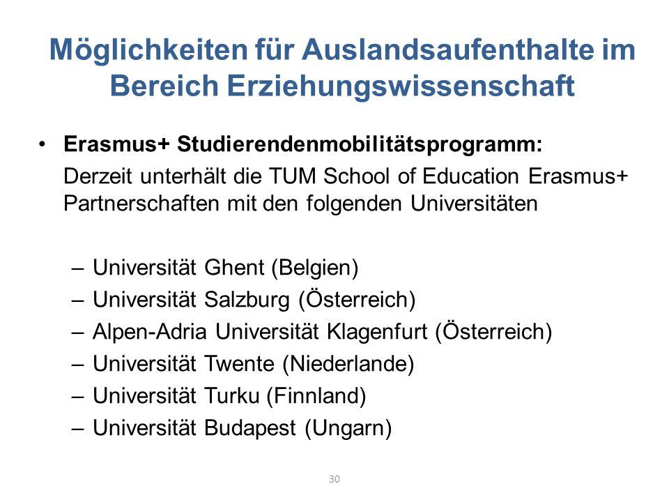 Möglichkeiten für Auslandsaufenthalte im Bereich Erziehungswissenschaft Erasmus+ Studierendenmobilitätsprogramm: Derzeit unterhält die TUM School of E