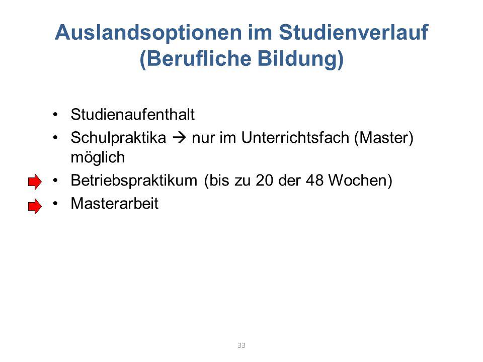 Auslandsoptionen im Studienverlauf (Berufliche Bildung) 33 Studienaufenthalt Schulpraktika  nur im Unterrichtsfach (Master) möglich Betriebspraktikum (bis zu 20 der 48 Wochen) Masterarbeit