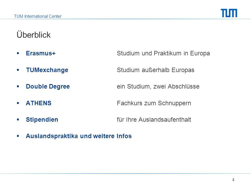 TUM International Center Überblick  Erasmus+ Studium und Praktikum in Europa  TUMexchange Studium außerhalb Europas  Double Degree ein Studium, zwei Abschlüsse  ATHENS Fachkurs zum Schnuppern  Stipendienfür Ihre Auslandsaufenthalt  Auslandspraktika und weitere Infos 4