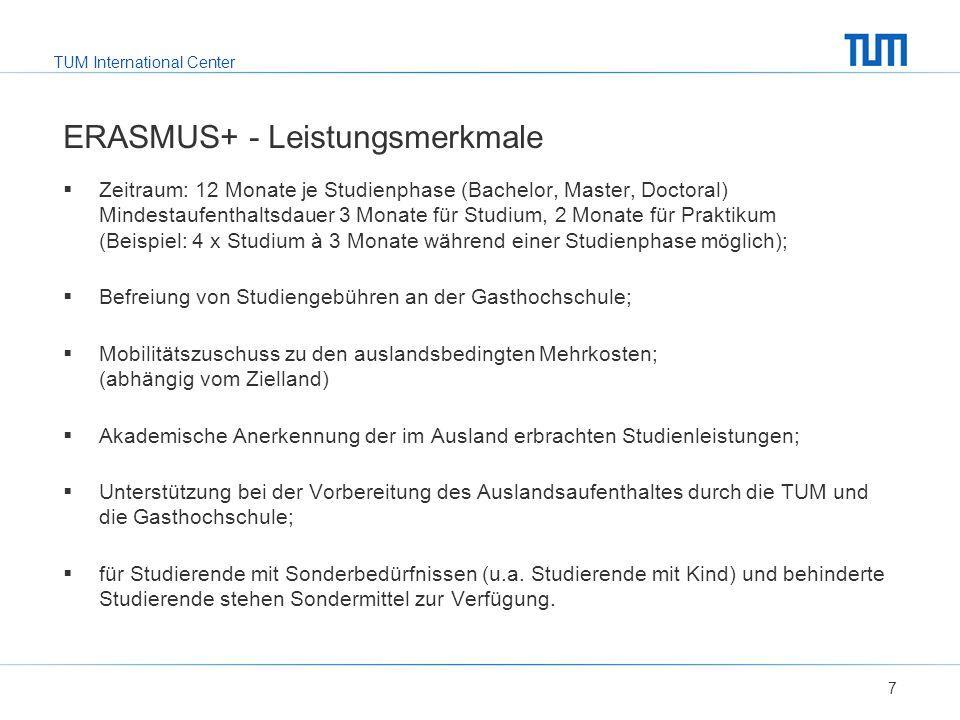 TUM International Center ERASMUS+ - Leistungsmerkmale 7