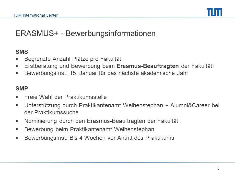 TUM International Center ERASMUS+ - Bewerbungsinformationen SMS  Begrenzte Anzahl Plätze pro Fakultät  Erstberatung und Bewerbung beim Erasmus-Beauftragten der Fakultät.