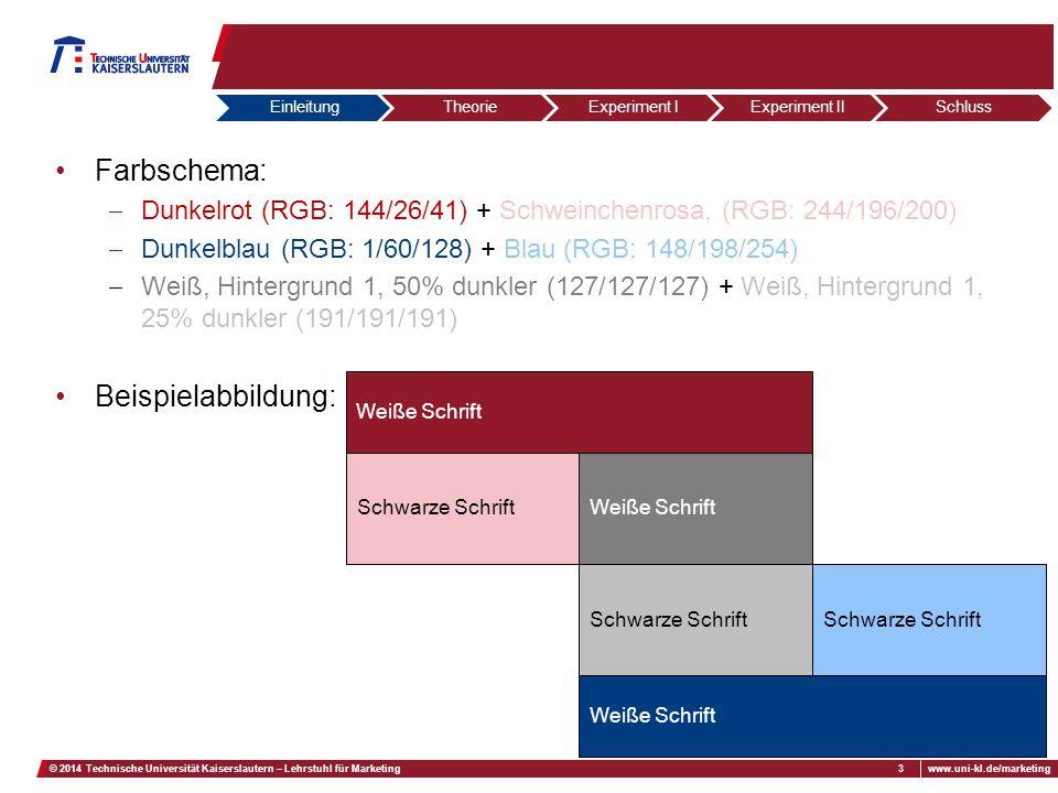 02.07.2012Fußzeilewww.uni-kl.de/marketing3© 2014 Technische Universität Kaiserslautern – Lehrstuhl für Marketing Farbschema:  Dunkelrot (RGB: 144/26/