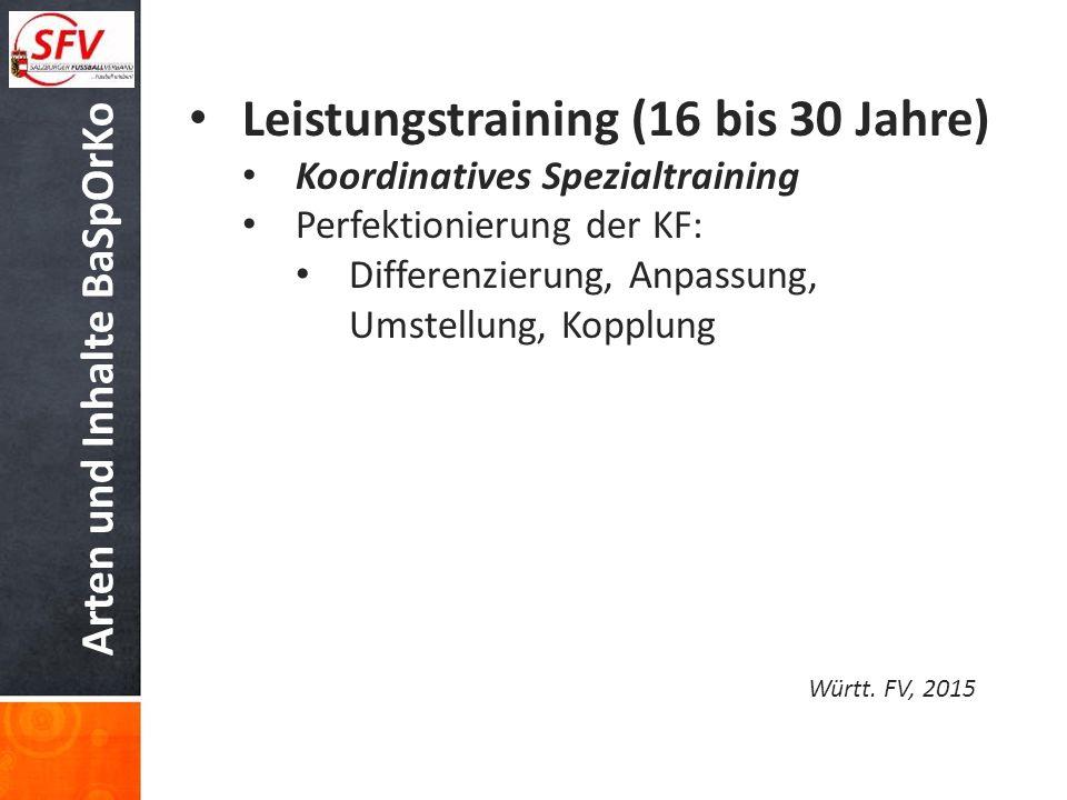 Arten und Inhalte BaSpOrKo Leistungstraining (16 bis 30 Jahre) Koordinatives Spezialtraining Perfektionierung der KF: Differenzierung, Anpassung, Umst