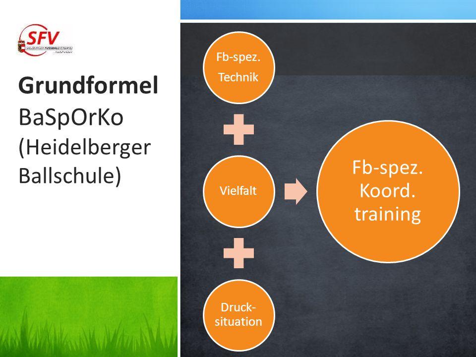 Grundformel BaSpOrKo (Heidelberger Ballschule) Fb-spez. Technik Vielfalt Druck- situation Fb-spez. Koord. training