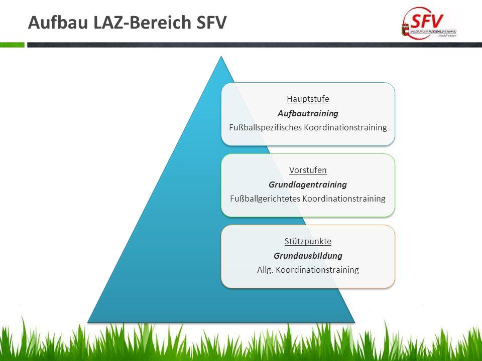 Aufbau LAZ-Bereich SFV Hauptstufe Aufbautraining Fußballspezifisches Koordinationstraining Vorstufen Grundlagentraining Fußballgerichtetes Koordinatio