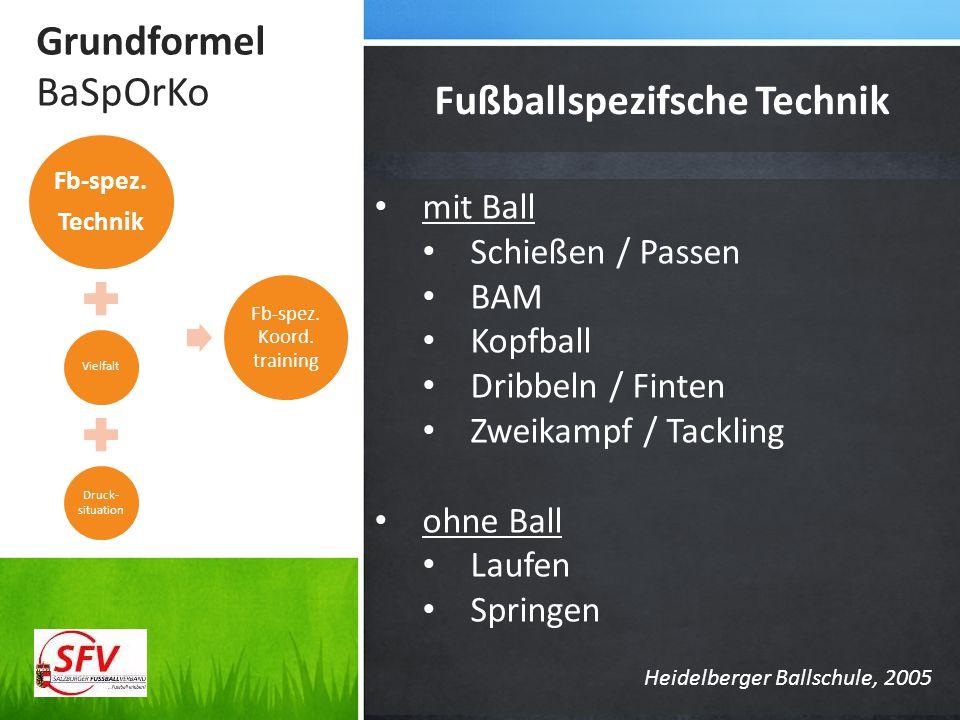 Grundformel BaSpOrKo Fußballspezifsche Technik Fb-spez. Technik Vielfalt Druck- situation Fb-spez. Koord. training mit Ball Schießen / Passen BAM Kopf
