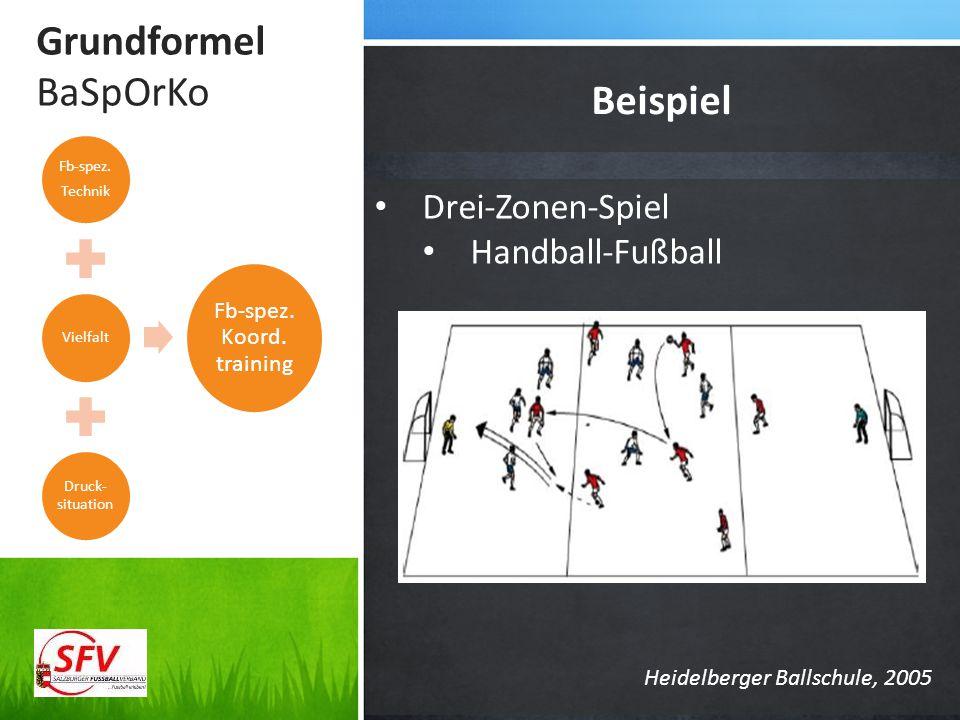 Grundformel BaSpOrKo Beispiel Drei-Zonen-Spiel Handball-Fußball Fb-spez. Technik Vielfalt Druck- situation Fb-spez. Koord. training Heidelberger Balls