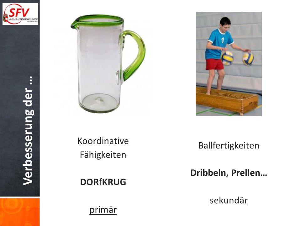 Verbesserung der … Koordinative Fähigkeiten DORfKRUG primär Ballfertigkeiten Dribbeln, Prellen… sekundär