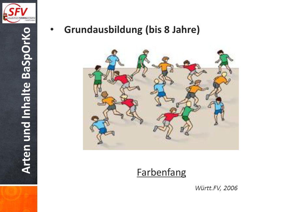 Arten und Inhalte BaSpOrKo Grundausbildung (bis 8 Jahre) Farbenfang Württ.FV, 2006