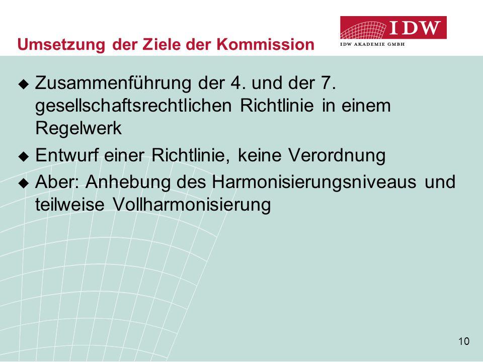 10 Umsetzung der Ziele der Kommission  Zusammenführung der 4. und der 7. gesellschaftsrechtlichen Richtlinie in einem Regelwerk  Entwurf einer Richt
