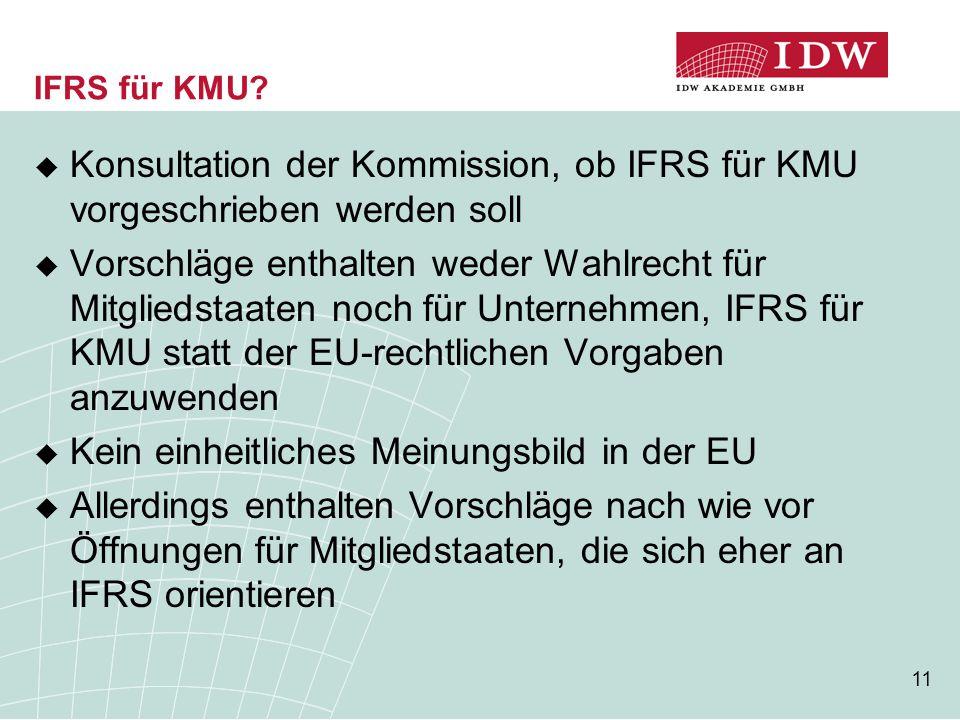 11 IFRS für KMU?  Konsultation der Kommission, ob IFRS für KMU vorgeschrieben werden soll  Vorschläge enthalten weder Wahlrecht für Mitgliedstaaten