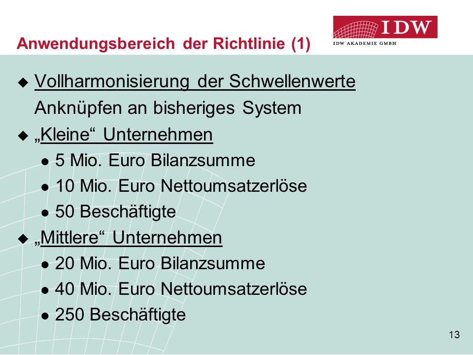 """13 Anwendungsbereich der Richtlinie (1)  Vollharmonisierung der Schwellenwerte Anknüpfen an bisheriges System  """"Kleine"""" Unternehmen 5 Mio. Euro Bila"""