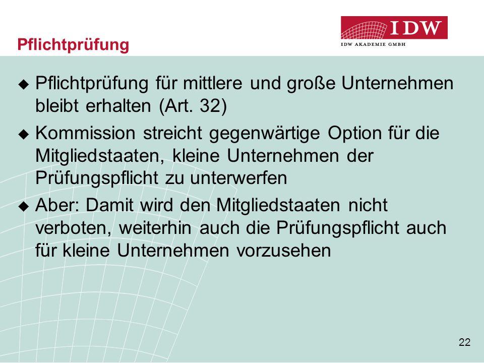 22 Pflichtprüfung  Pflichtprüfung für mittlere und große Unternehmen bleibt erhalten (Art. 32)  Kommission streicht gegenwärtige Option für die Mitg