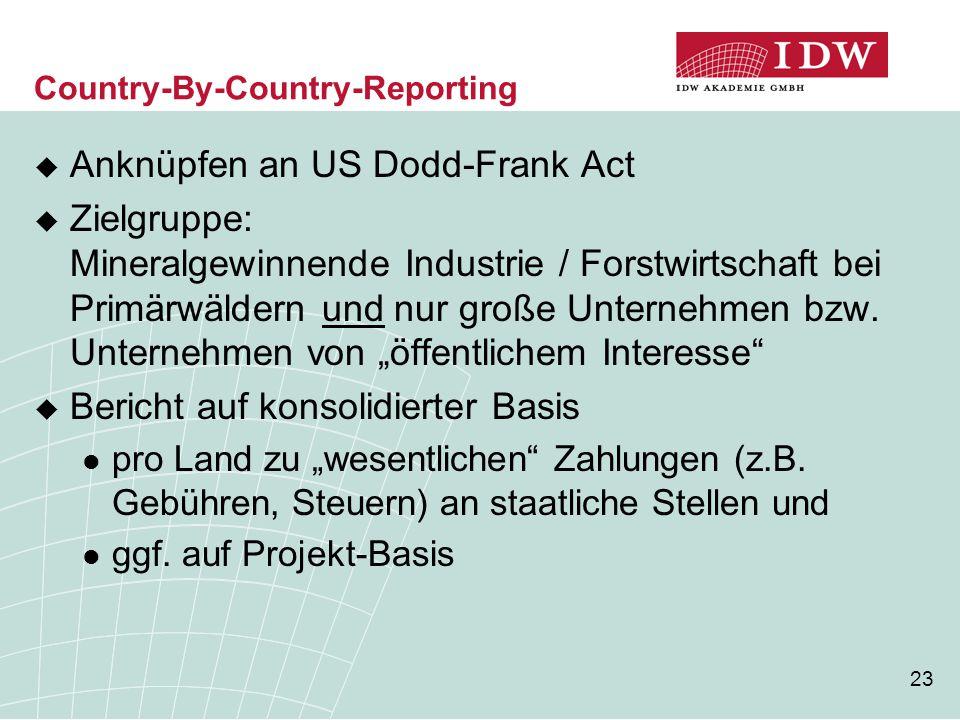 23 Country-By-Country-Reporting  Anknüpfen an US Dodd-Frank Act  Zielgruppe: Mineralgewinnende Industrie / Forstwirtschaft bei Primärwäldern und nur