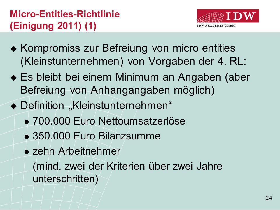 24 Micro-Entities-Richtlinie (Einigung 2011) (1)  Kompromiss zur Befreiung von micro entities (Kleinstunternehmen) von Vorgaben der 4. RL:  Es bleib