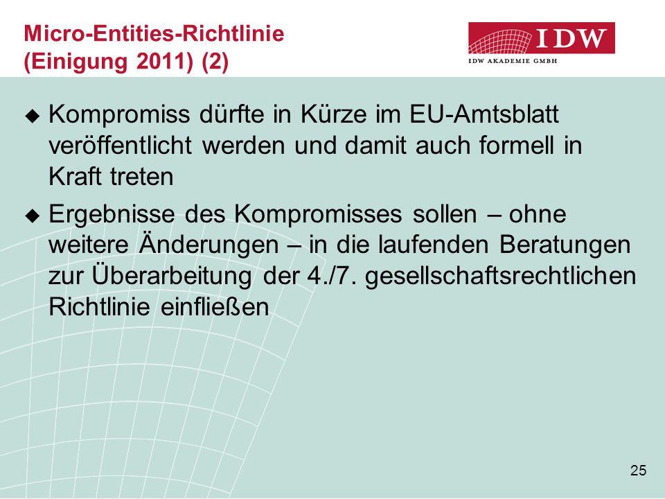 25 Micro-Entities-Richtlinie (Einigung 2011) (2)  Kompromiss dürfte in Kürze im EU-Amtsblatt veröffentlicht werden und damit auch formell in Kraft tr