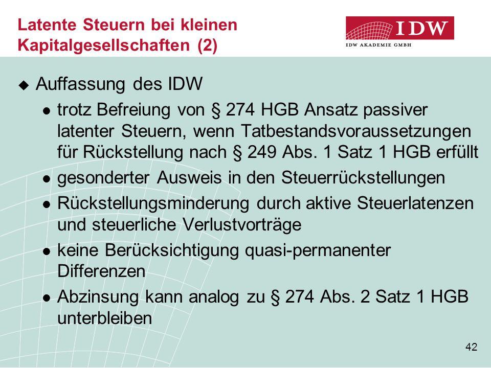 42 Latente Steuern bei kleinen Kapitalgesellschaften (2)  Auffassung des IDW trotz Befreiung von § 274 HGB Ansatz passiver latenter Steuern, wenn Tat