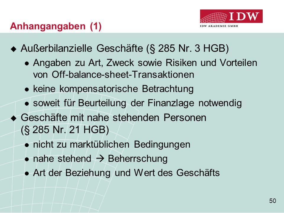 50 Anhangangaben (1)  Außerbilanzielle Geschäfte (§ 285 Nr. 3 HGB) Angaben zu Art, Zweck sowie Risiken und Vorteilen von Off-balance-sheet-Transaktio
