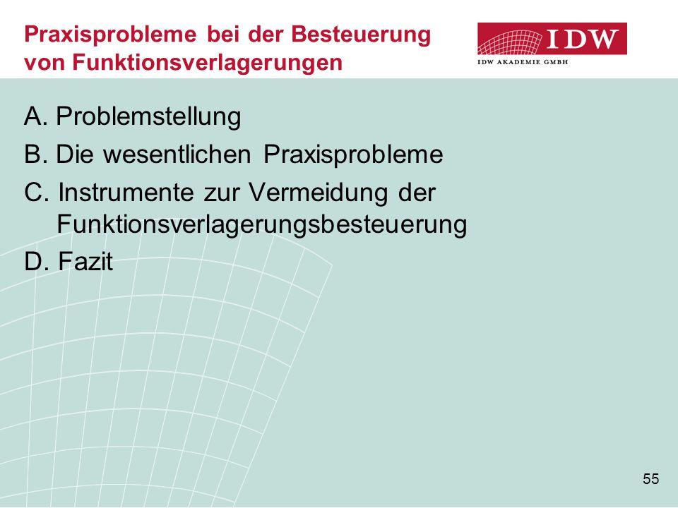 55 Praxisprobleme bei der Besteuerung von Funktionsverlagerungen A. Problemstellung B. Die wesentlichen Praxisprobleme C. Instrumente zur Vermeidung d