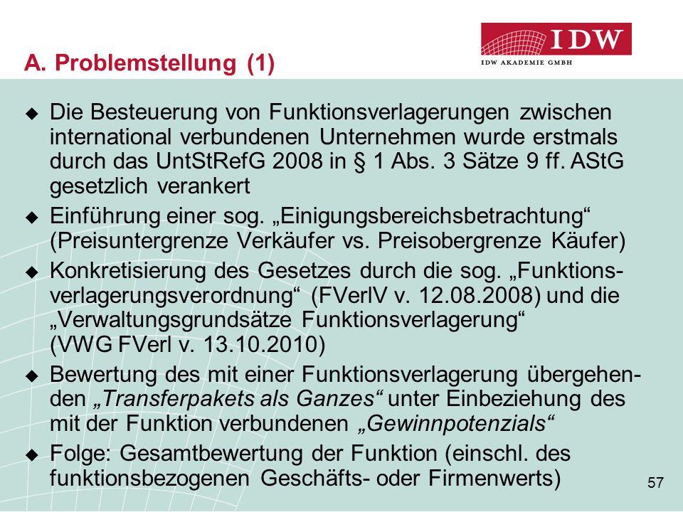 57 A. Problemstellung (1)  Die Besteuerung von Funktionsverlagerungen zwischen international verbundenen Unternehmen wurde erstmals durch das UntStRe